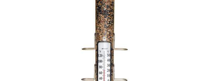 "Grande View Bird Feeder Thermometer Silver 24"""