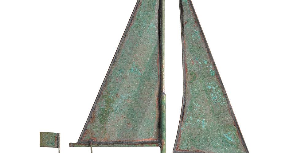 Copper Sailboat Weathervane - Verdigris finish