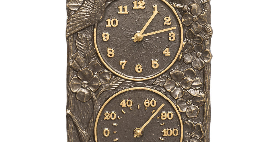 Cardinal Clock and Thermometer, French Bronze