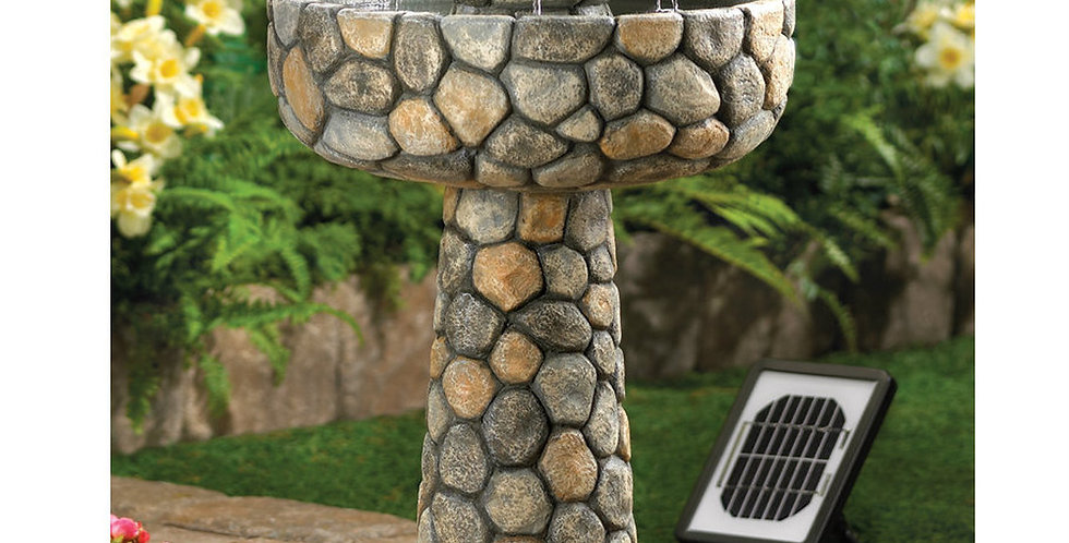 Stone-Look Water Fountain - Solar or Cord Power