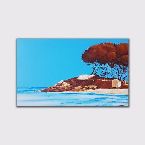 La plage, 73 x 116, acrylique sur toile, 2019