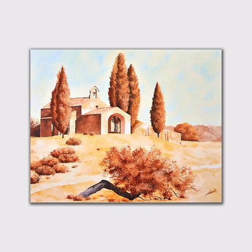 chapelle Saint Sixte, 80 x 100, acrylique sur toile,  2015
