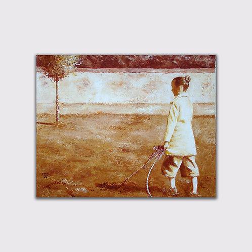Dimanche d'automne, 33 x 41 cm, acrylique sur toile, 2010