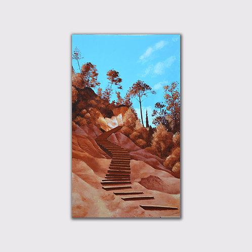 Chemin d'ocres,100 x 60,acrylique sur toile, 2015