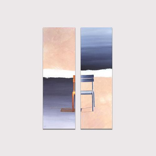 Assise métrique, ( dyptique),  150 x 50 cm x 2, Acrylique sur toile, 2020