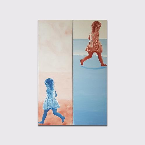 Différence, 2 x 120 x 40, acrylique sur toile, 2019