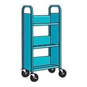 Rolling cart at angle, teal.PNG