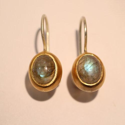 Oval labradorite earrings