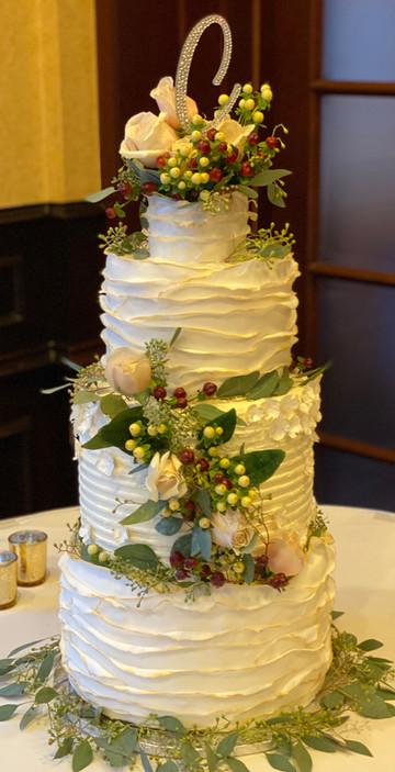 Fondant ruffle wedding cake