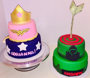 Twins super hero cakes