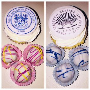 Truffles drizzled with school colors