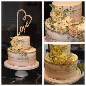 """Love"" Naked Wedding Cake"