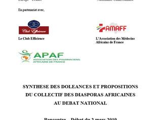 DIASPORAS AFRICAINES AU DEBAT NATIONAL.