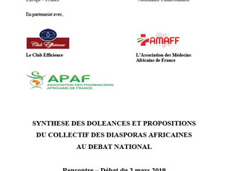 DIASPORAS AFRICAINES AU DEBAT NATIONAL.