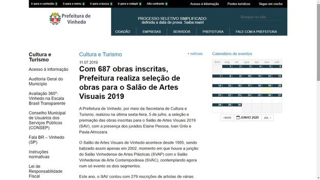 2019 Salão de Artes de Vinhedo.