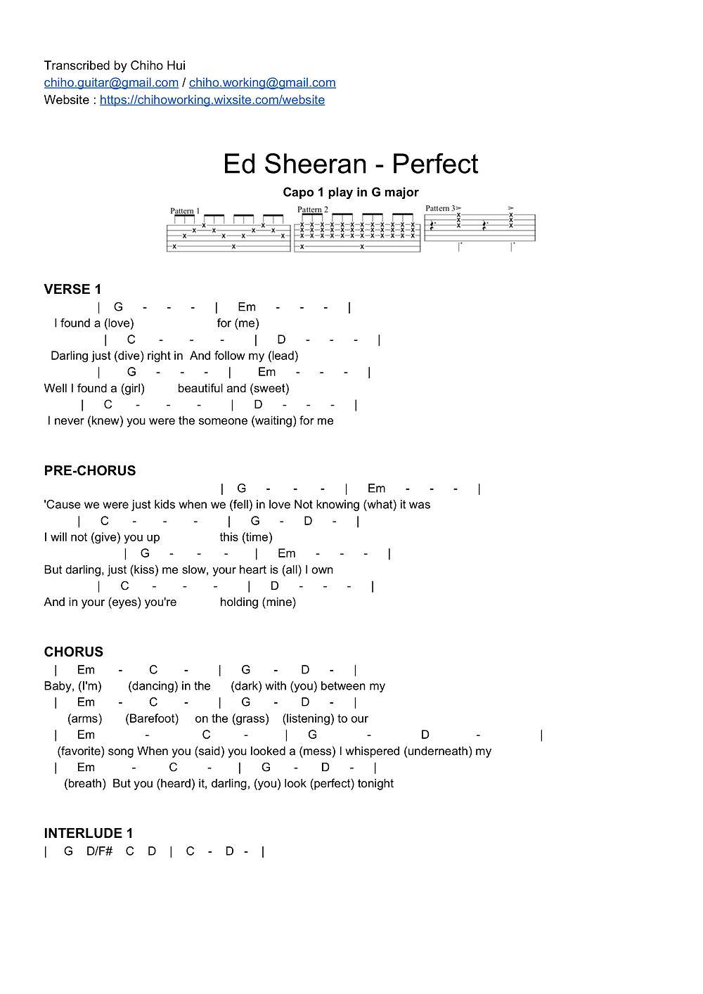 hivatalos spanyol A fején ed sheeran perfect chords without capo ...