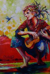 instant d'inspiration, joueuse de ukulele