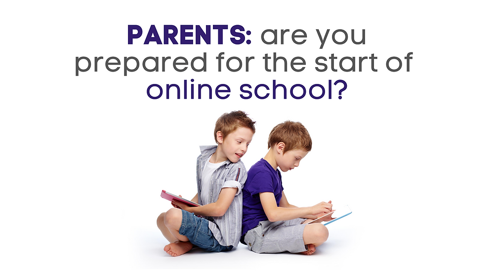two elementary aged boys sitting back to back under the words Parents: are you prepared for the start of online school