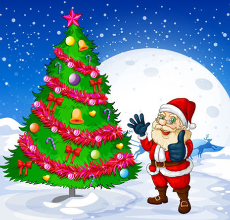 santa_and_christmas_tree_vector_538044.j