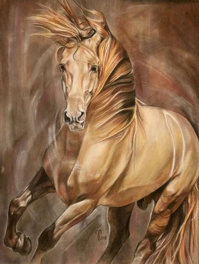Pferdezeichnung, Pferdeportrait, Cream Horse, Andalusier, Tierpotrait, PRE Hengst