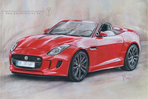 Zeichnung Jaguar Cabriolet, Pastellblicke Auftragsmalerei, Jutta Pallasch,  Ebersbach