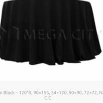15. Plain Black – 120″R, 90×156, 54×120, 90×90, 72×72, Naps, C.C