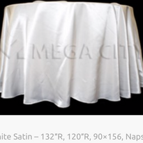5. White Satin – 132″R, 120″R, 90×156, N