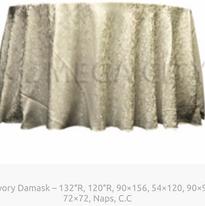19. Ivory Damask – 132″R, 120″R, 90×156, 54×120, 90×90, 72×72, Naps, C.C