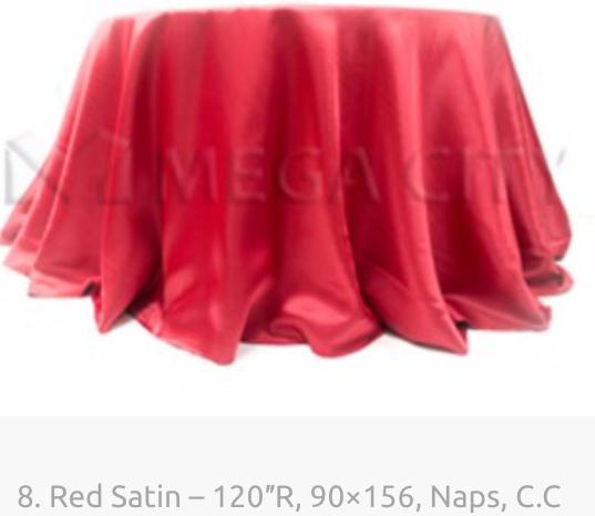 8. Red Satin – 120″R, 90×156, Naps, C.pn