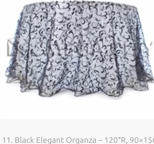11. Black Elegant Organza – 120″R, 90×15
