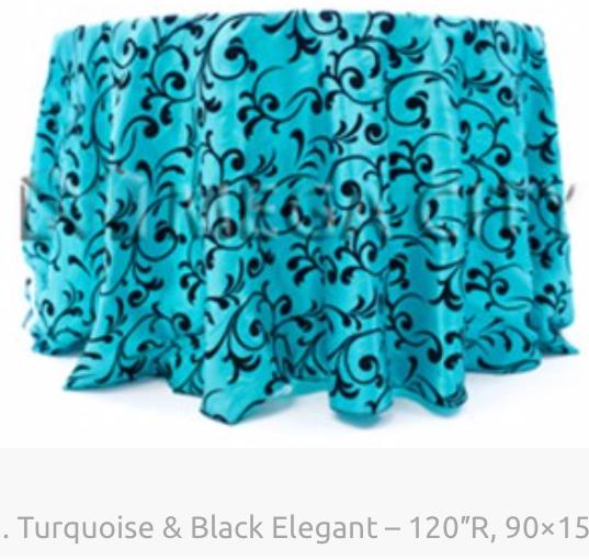 1. Turquoise & Black Elegant – 120″R, 90