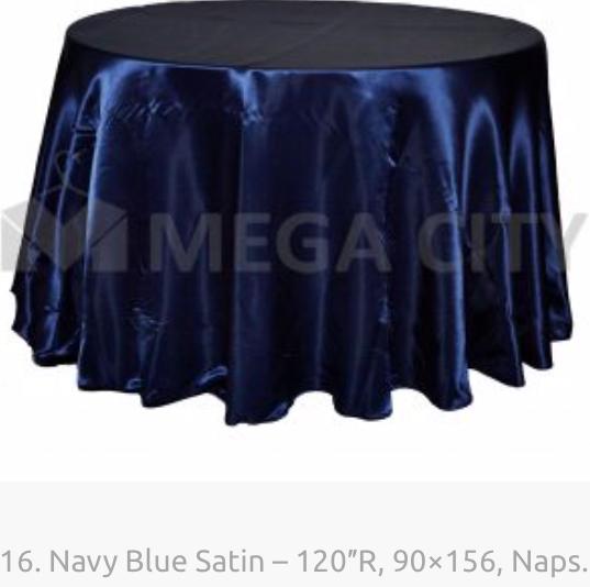 16. Navy Blue Satin – 120″R, 90×156, Naps