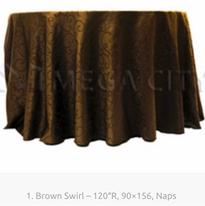 1. Brown Swirl – 120″R, 90×156, Naps