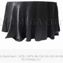 20. Black Swirl- 132″R, 120″R, 90×156, 54×120, 90×90, 72×72,Naps, C.C