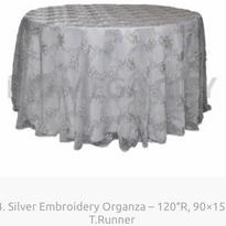 14. Silver Embroidery Organza – 120″R, 9