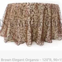 9. Brown Elegant Organza – 120″R, 90×156