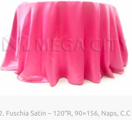 2. Fuschia Satin – 120″R, 90×156, Naps,