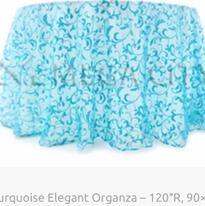 7. Turquoise Elegant Organza – 120″R, 90