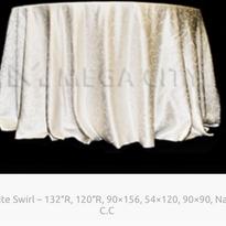 6. White Swirl – 132″R, 120″R, 90×156, 54×120, 90×90, Naps, C.C