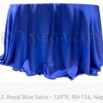 12. Royal Blue Satin – 120″R, 90×156, Na