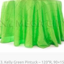 13. Kelly Green Pintuck – 120″R, 90×156.