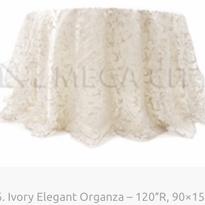 6. Ivory Elegant Organza – 120″R, 90×156