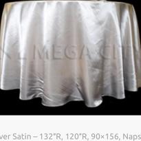 6. Silver Satin – 132″R, 120″R, 90×156,