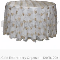 13. Gold Embroidery Organza – 120″R, 90×