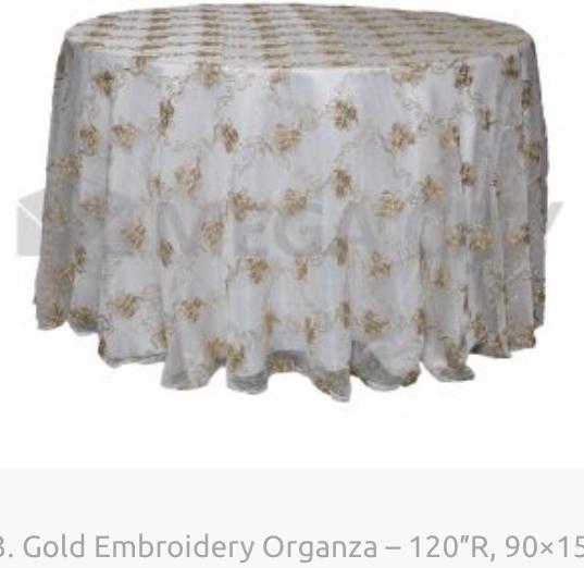 13. Gold Embroidery Organza – 120″R, 90×