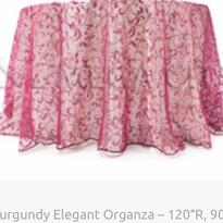 10. Burgundy Elegant Organza – 120″R, 90