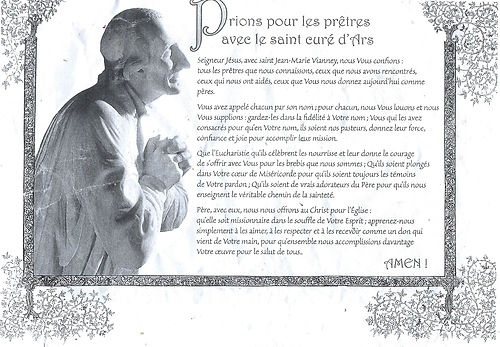 Prions pour les prêtres avec le saint curé d'Ars