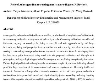 Role of Ashwagandha in treating many severe diseases(A Review)