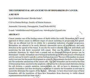 THE EXPERIMENTAL ADVANCEMENTS OF BIOMARKERS IN CANCER: A REVIEW