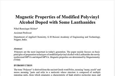 Magnetic Properties of Modified Polyvinyl Alcohol Doped with Some Lanthanides